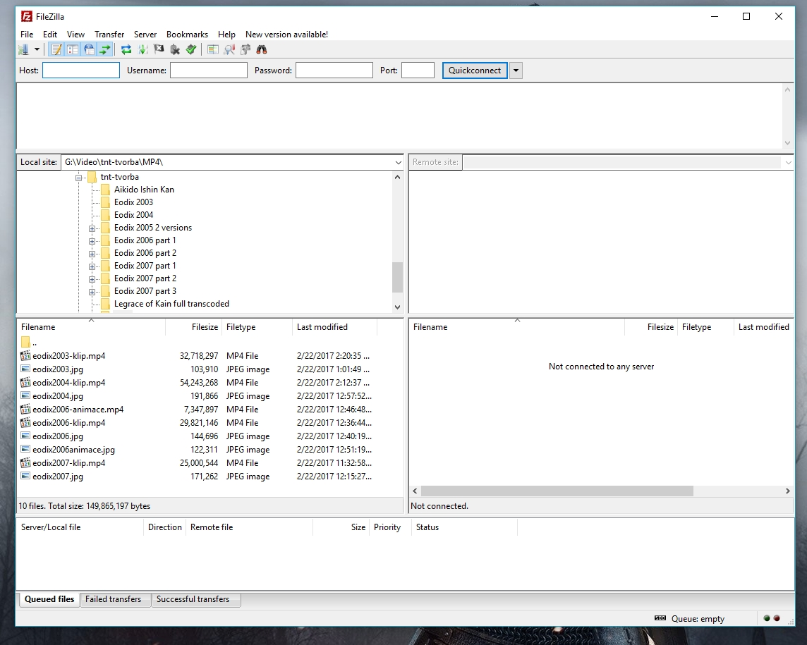 FileZilla FTP uploader.